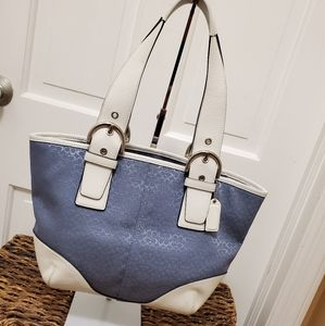 Coach Blue & White Sig. Coated Canvas & Leather